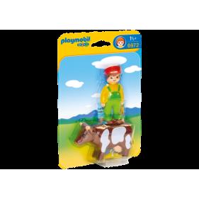 Playmobil 6972 - 1.2.3 Granjero con Vaca