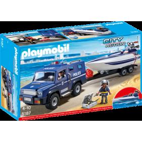 Playmobil 5187 - Coche de Policía con Lancha